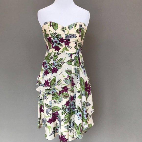 Nanette Lepore Dresses & Skirts - Nanette Lepore Strapless Floral Silk Dress 4 XS